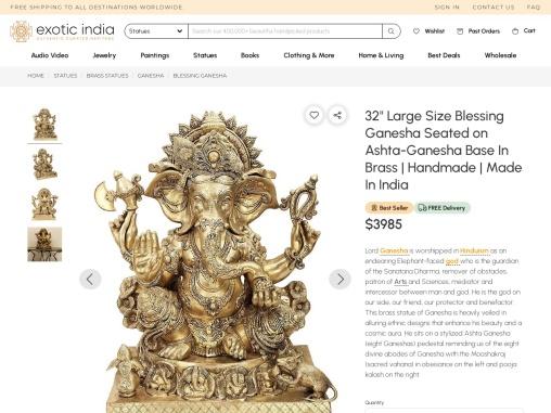 Get Brass Made Blessing Ganesha Seated on Ashta-Ganesha Base