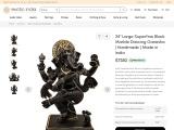 Get Large Black Marble Dancing Ganesha Statue