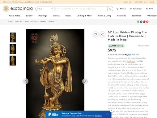 Lord Krishna Brass Sculpture Playing The Flute