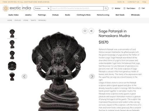 Black Marble Sage Patanjali in Namaskara Mudra