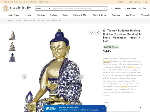 Get Brass Statue of Tibetan Budda Sculptures Healing Buddha-Medicine Buddha