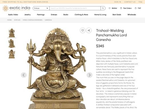 Trishool-Wielding Panchamukha Lord Ganesha Bronze Statue