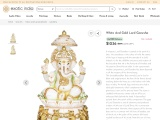 White And Gold Marble Sculpture-Lord Ganesha