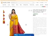 Get Amber-Yellow Brocaded Silk Sari from Chennai with Peacocks on Border