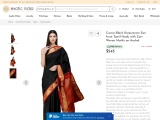 Get Caviar-Black Kanjivaram Sari from Tamil Nadu with Zari-Woven