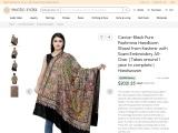 Get Caviar-Black Pure Pashmina Handloom Shawl from Kashmir with Sozni Embroidery
