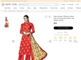 Get Flame-Scarlet Palazzo Salwar Suit with Standing-Collar and Golden Motifs