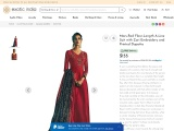 Mars-Red Floor-Length A-Line Suit with Zari Embroidery and Printed Dupatta
