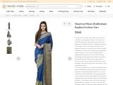 Nautical-Blue Madhubani Radha Krishna Crepe Silk Sari