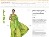 Pure Silk Uppada Sari from Bangalore with Zari-Woven Pallu and Border