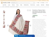 Get Pearled-Ivory Pashmina Shawl from Kashmir with Sozni Hand-Embroidered