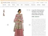 Get Zari Embroidered Kameez with Lehenga With Heavy Zari Embroidered Dupatta