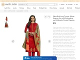 Long Trouser Salwar-Kameez Suit with Embroidery and Multicolor Printed Dupatta