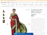 Get Savvy-Red Brocaded Paithani Uppada Fusion Sari from Bangalore