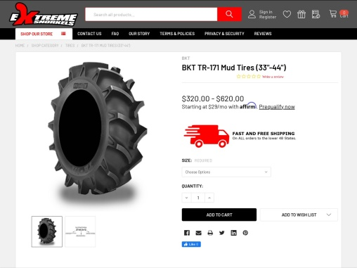 """BKT TR-171 Mud Tires 33""""-42"""" Inches Size Extreme Snorkels"""