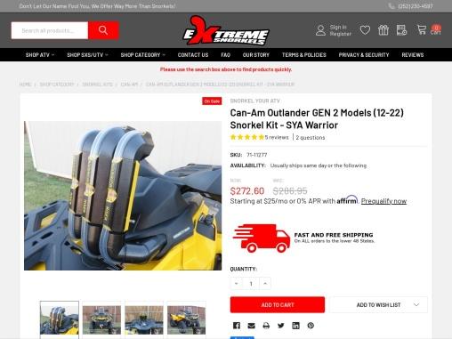 Can-Am Outlander GEN 2 Models (12-21) SYA Warrior Snorkel Kit