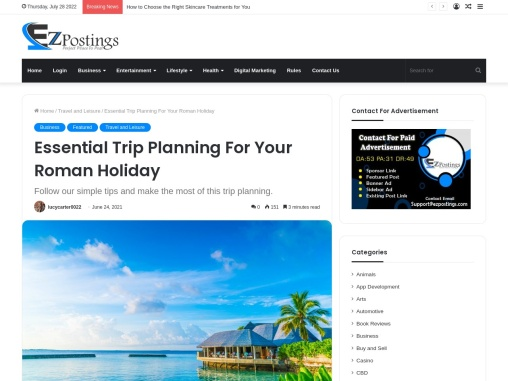 Essential Trip Planning For Your Roman Holiday