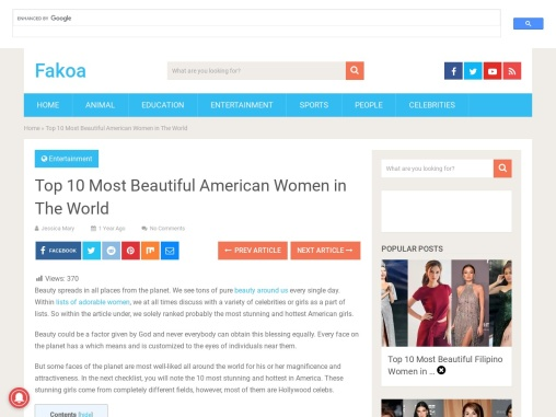Top 10 Most Beautiful American Women in The World