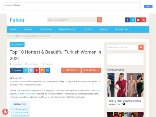 Top 10 Hottest & Beautiful Turkish Women in 2021