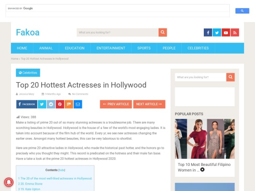 Top 20 Hottest Actresses in Hollywood