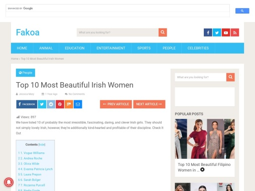 Top 10 Most Beautiful Irish Women