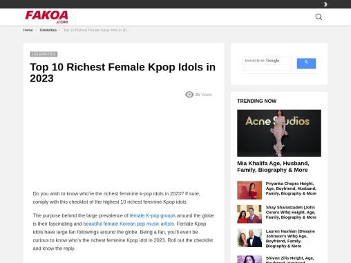 Top 10 Richest Female Kpop Idols in 2021