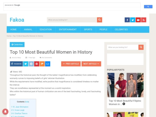 Top 10 Most Beautiful Women in History
