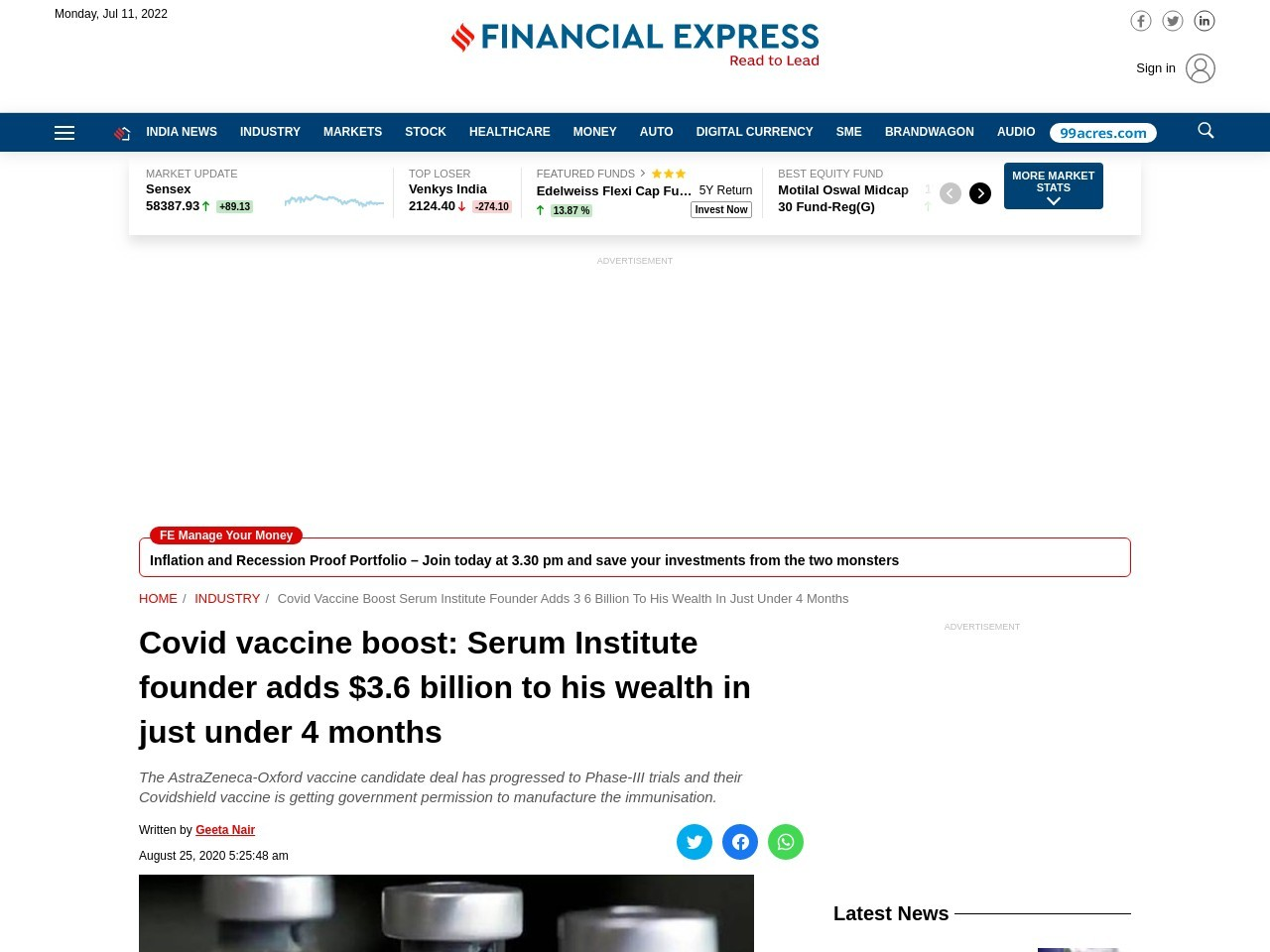 Covid vaccine boost: Serum Institute founder adds $3.6 billion to his wealth in just under 4months