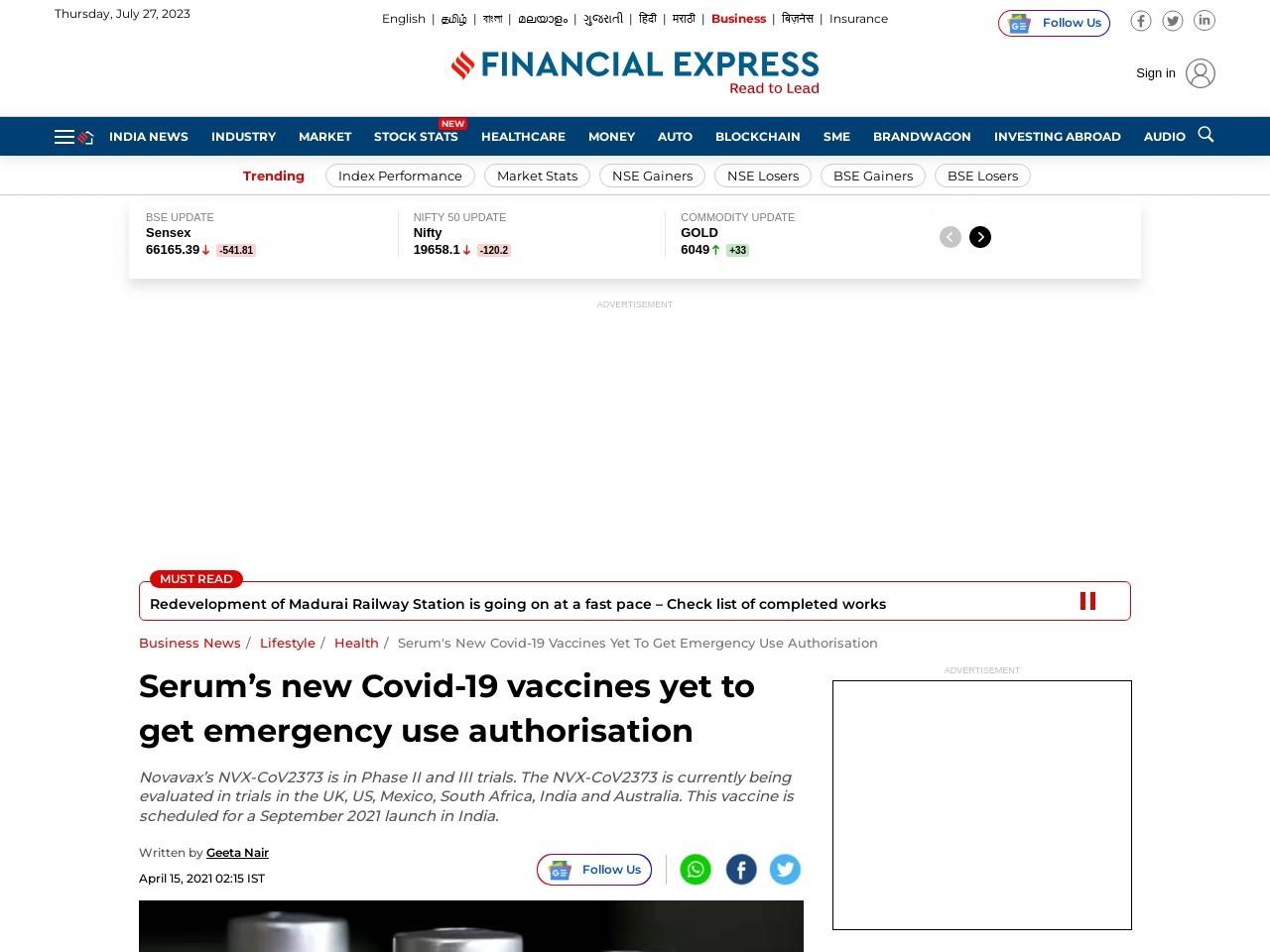 Serum's new Covid-19 vaccines yet to get emergency useauthorisation