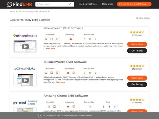 Top Gastroenterology EHR/EMR Software Demos, User Reviews & Pricing   FindEMR