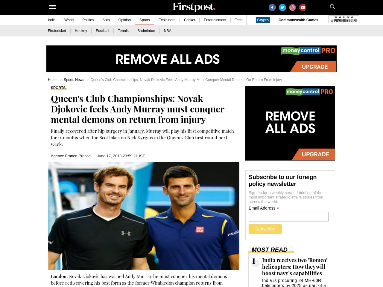 Queen's Club Championships: Novak Djokovic feels Andy Murray should…