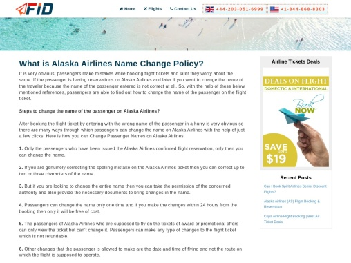 Alaska Airlines Name Change Policy +1-844-868-8303
