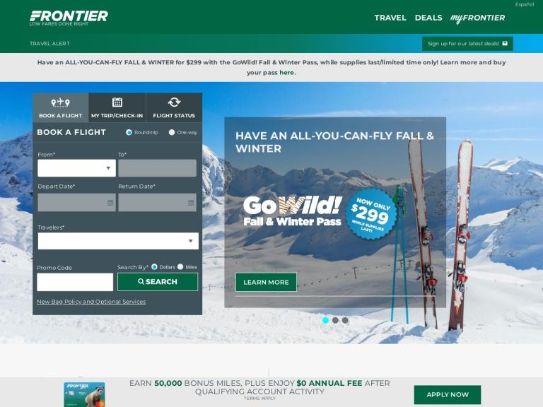 flyfrontier.com screenshot