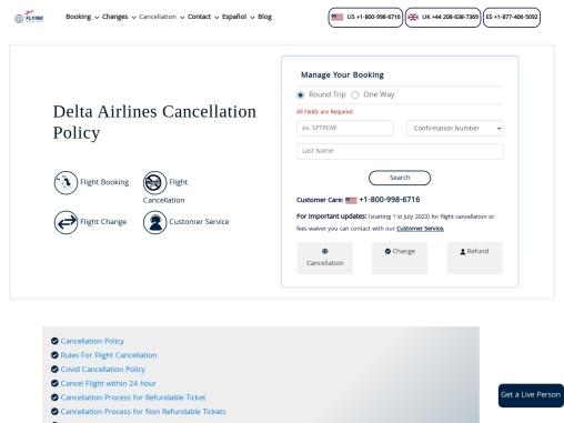 Delta Cancellation Flights and Refund Policy +1-800-548-3192