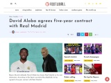 David Alaba Agrees Five-Year Contract With Spanish Giants Real Madrid