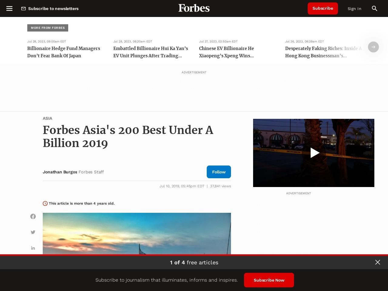 Forbes Asia's 200 Best Under A Billion 2019