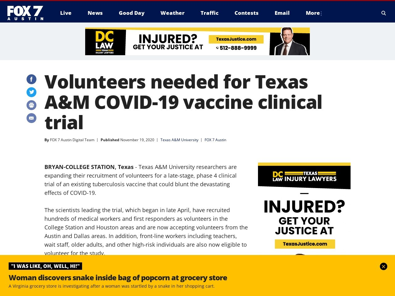 Volunteers needed for Texas A&M COVID-19 vaccine clinical trial