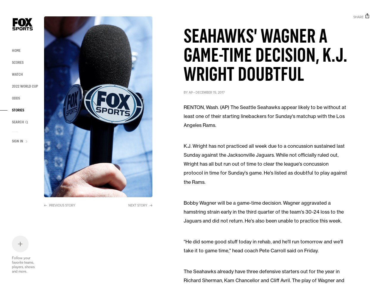 Seahawks' Wagner a game-time decision, K.J. Wright doubtful