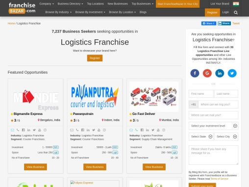 Logistics and courier franchise in Bangalore: Franchisebazar