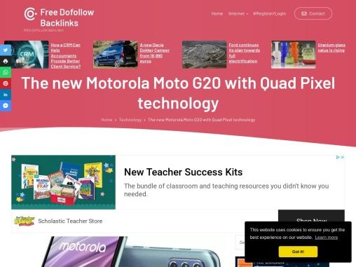 The new Motorola Moto G20 with Quad Pixel technology