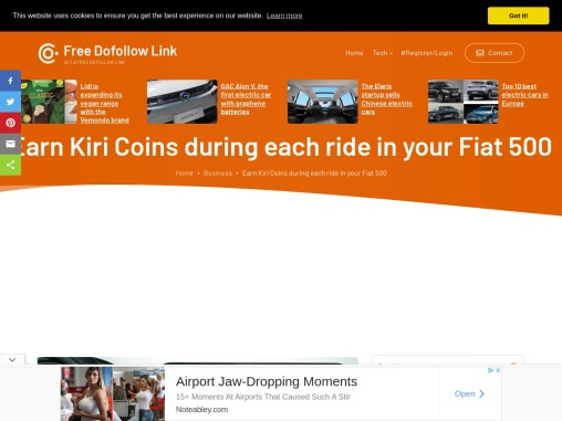 Earn Kiri Coins during each ride in your Fiat 500