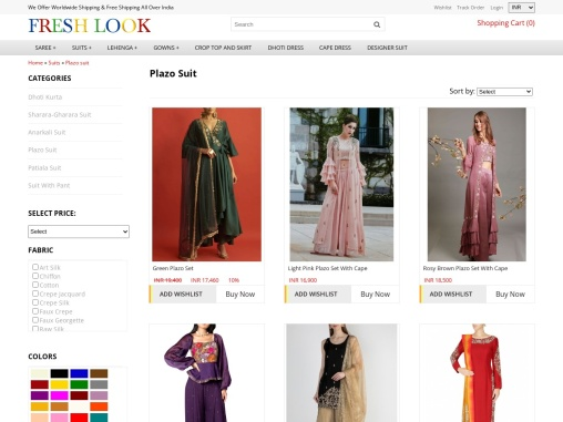 Plazo Suits And Palazzo Pants With Crop Top buy online from Fresh Look Fashion