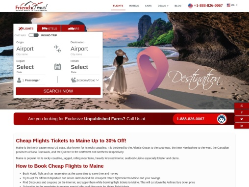Book Cheap Flights to Maine starting at just $31