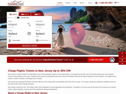 Cheap Flights to New Jersey from $26 only