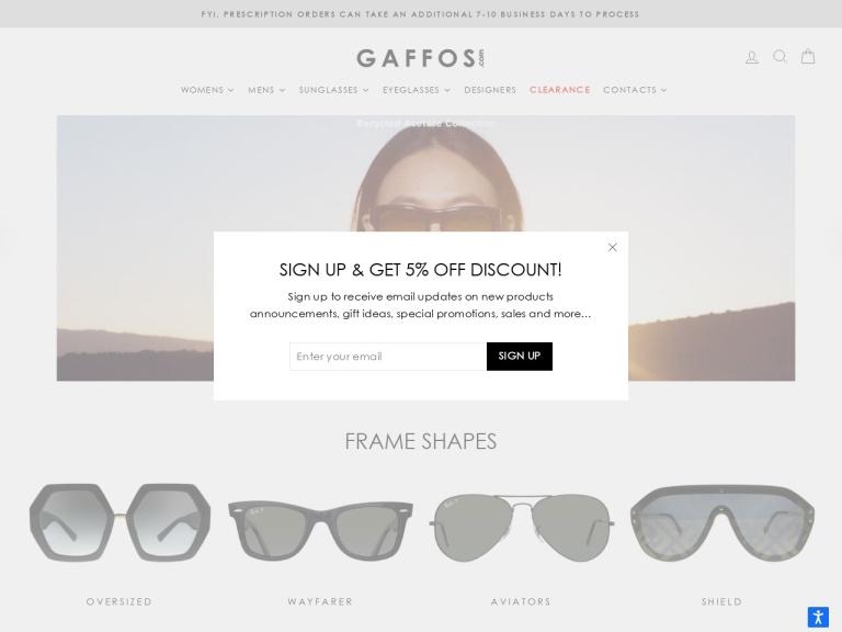 Gaffos.com Coupon Codes screenshot