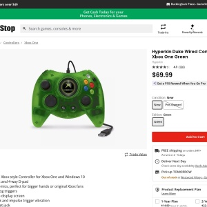 Hyperkin DUKE for Xbox One - Green Wired Controller - Only at GameStop for Xbox One | GameStop