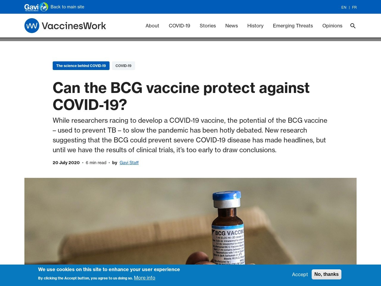 Can the BCG vaccine protect against COVID-19?