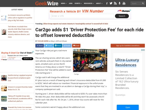 Car2go adds $1 'Driver Protection Fee' for each ride to offset lowered deductible