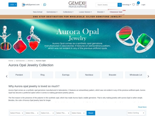 Buy wholesale Aurora opal jewelry latest collection