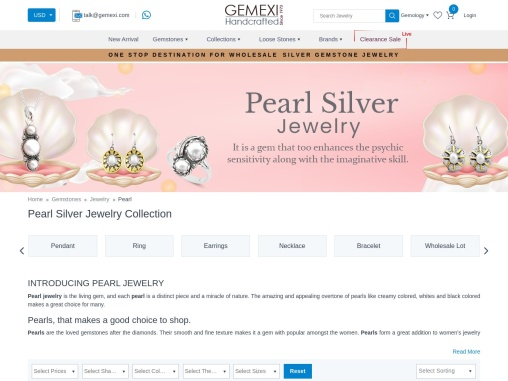 Buy Pearl Silver Jewelry at wholesale price